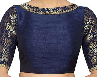 Black Readymade Polyester Raw Silk Stitched Wedding Christmas Party Wear Indianattire BOAT NECK Blouse Crop Sari Top For Women