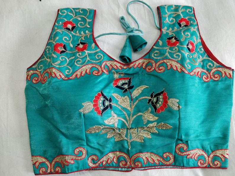 Blue Designer Readymade Latest Floral Embroidered Saree Blouse Poly Silk Indian Fabric Craft Tunic Top Sari Choli Wedding Wear For Women