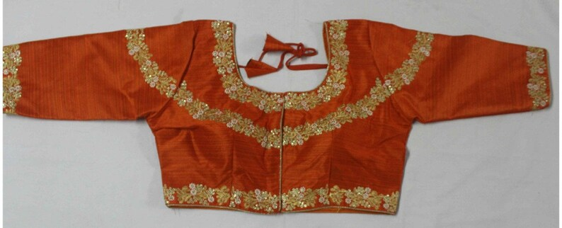 Designer Ready-made New Banglori Wedding Saree Floral Embroidery Stitched Blouse Crop Sari Top Party Wear Work For Women 34 Sleeves