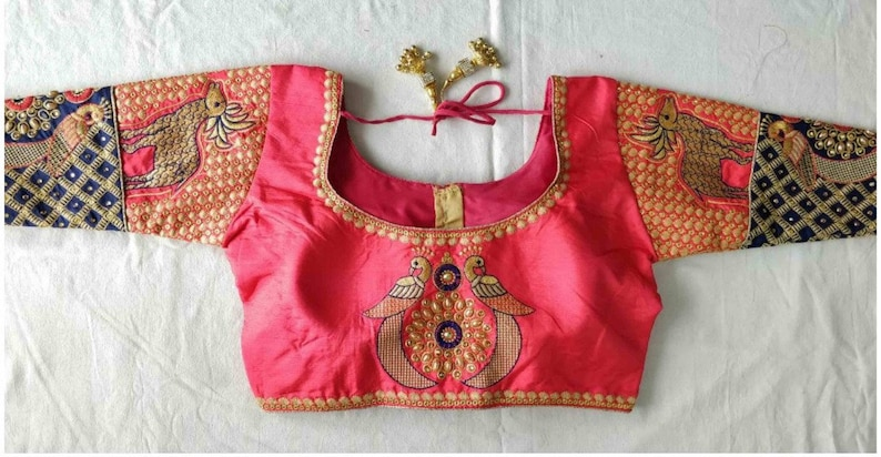 34 Sleeves Designer Ready-made New Banglori Wedding Saree Peacock /& Deer Embroidery Stitched Blouse Crop Sari Top Party Wear Work For Women