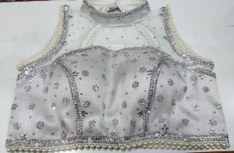SILVER /& WHITE Readymade Choli Stitched Top Saree Wedding Party Wear Art Silk Beaded Blouse Marriage Tunic Sari for Women
