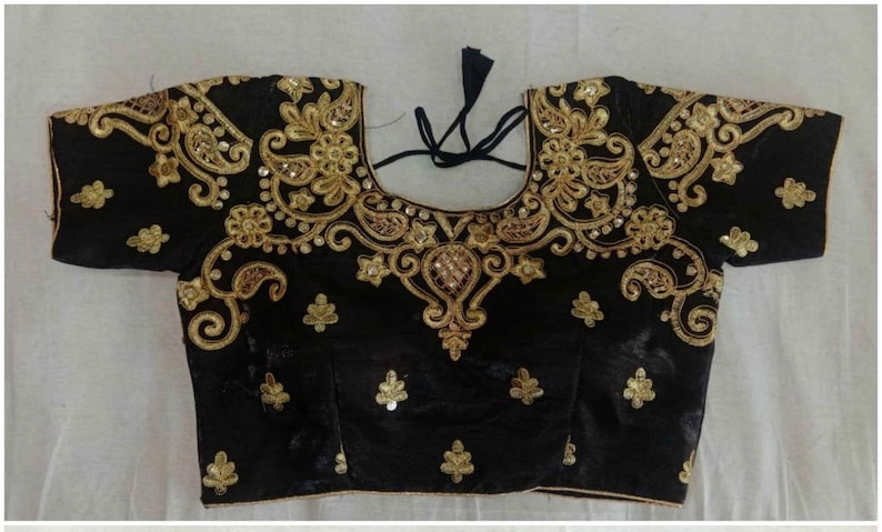 Designer New Readymade Black Party Wedding Saree Stitched Blouse Crop Sari Top New Art Silk Embroidered Work For Women
