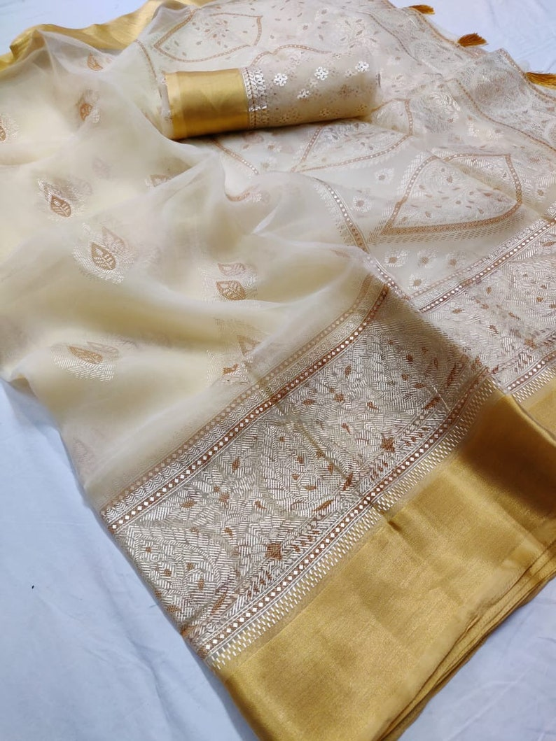 Traditional ORGANZA Printed Soft Saree with Bridal Christmas Gift Occasional Wear Party Wedding Light Weight Sari Wear with Running Blouse