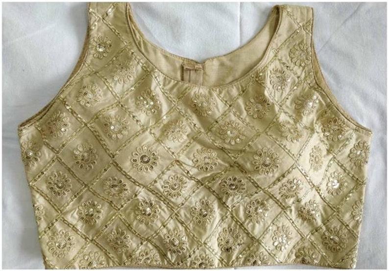 Golden Designer Rajasthani Wedding Embroidery Readymade Blouse Party Wear Saree Stitched Crop Sari Top New Banglori Silk Women