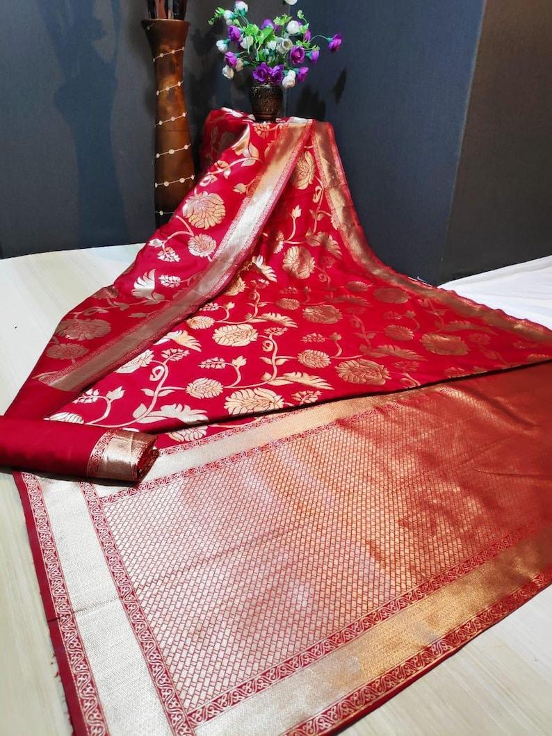 Red Heavy Banarasi silk Weaving Saree Bridal Christmas Gift Occasional Wear Party Wedding Sari Wear with Running Blouse