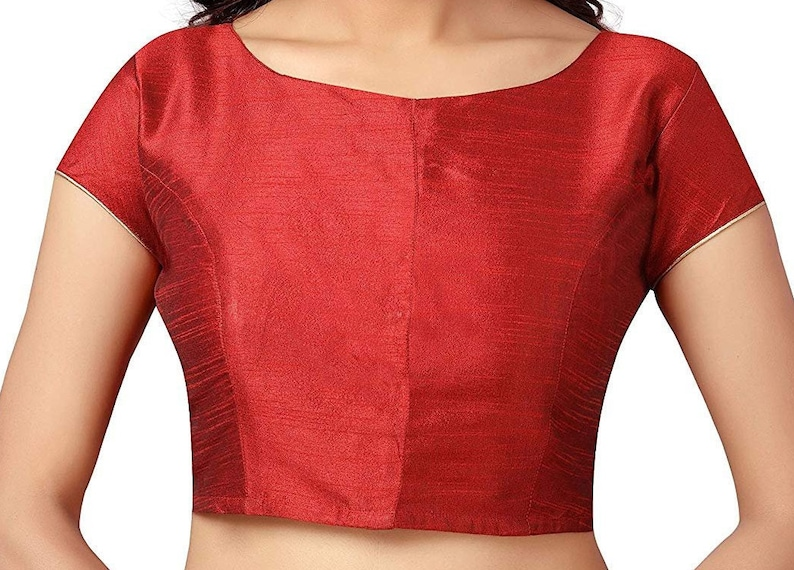 Red Designer BACK Readymade Polyester Raw Silk Stitched Wedding Christmas Party Wear BOAT NECK Blouse Crop Sari Top For Women