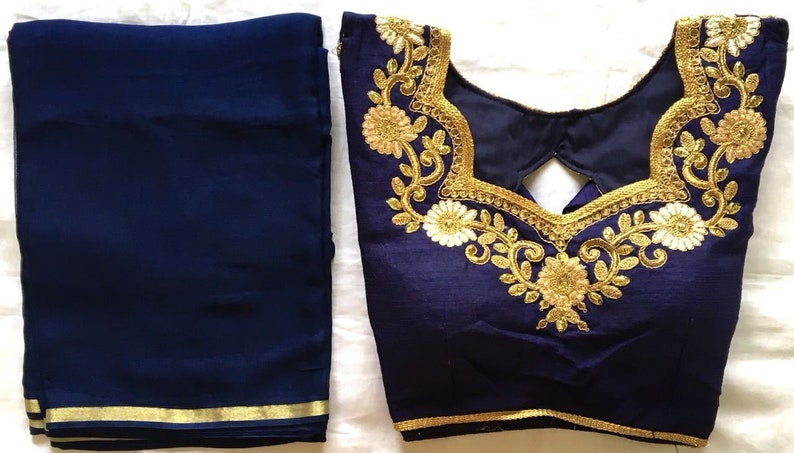 dafe9c3e2528a1 Set of 2 Combo Saree With Stitched Wedding Party Wear Sari
