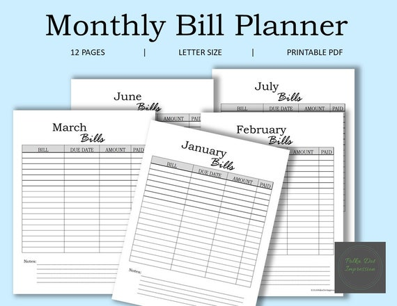 photo regarding Bill Planner Printable named My Month-to-month Invoice Planner, Family Monthly bill Sort, Invoice Monitoring Variety, Printable Invoice Planner, Money Planner, Company Regular Monthly bill Planner