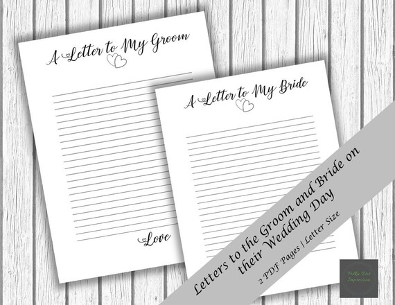 Wedding Day Letter To Bride.A Letter To My Bride And Groom Perfect Wedding Day Gift Romantic Wedding Surprise Love Notes To Bride And Groom Thoughtful Love Notes