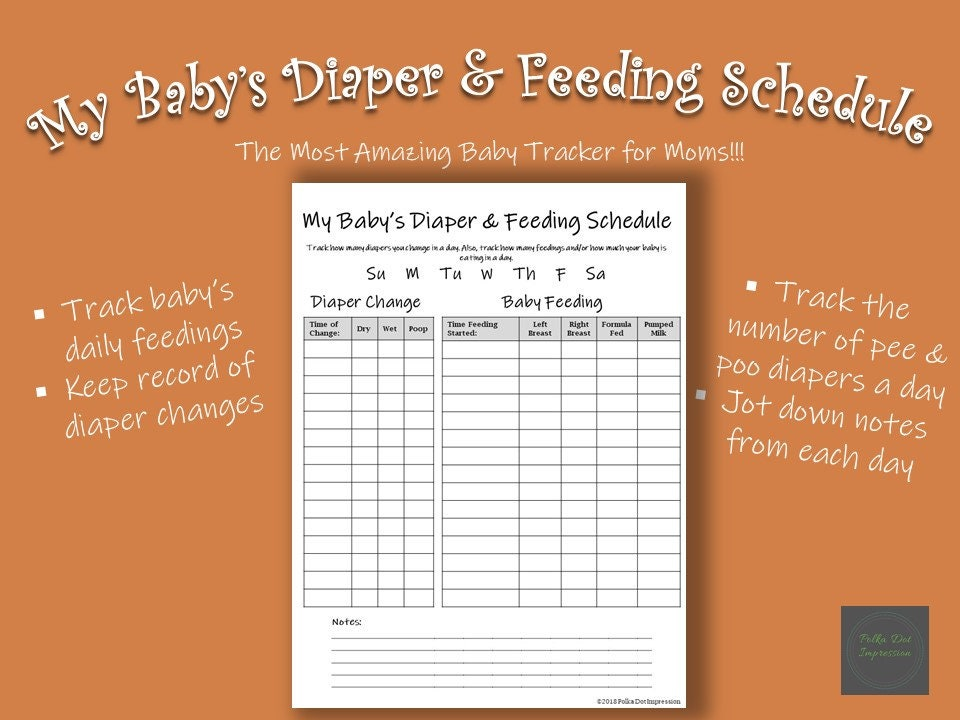 My Baby's Diaper and Feeding Schedule, Track Baby Daily Intake, Record Baby  Diaper Changes, Nanny Daily Log, Daily Newborn Diaper Schedule