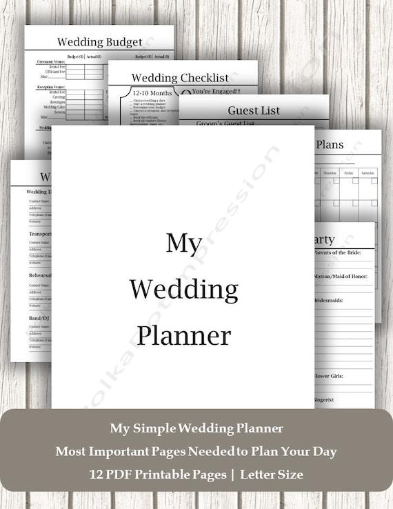 Neat & Simple Wedding Planner, Printable Wedding Planner PDF, Detailed  Wedding Checklist, Wedding Coordinator Checklist, Wedding Day Planner