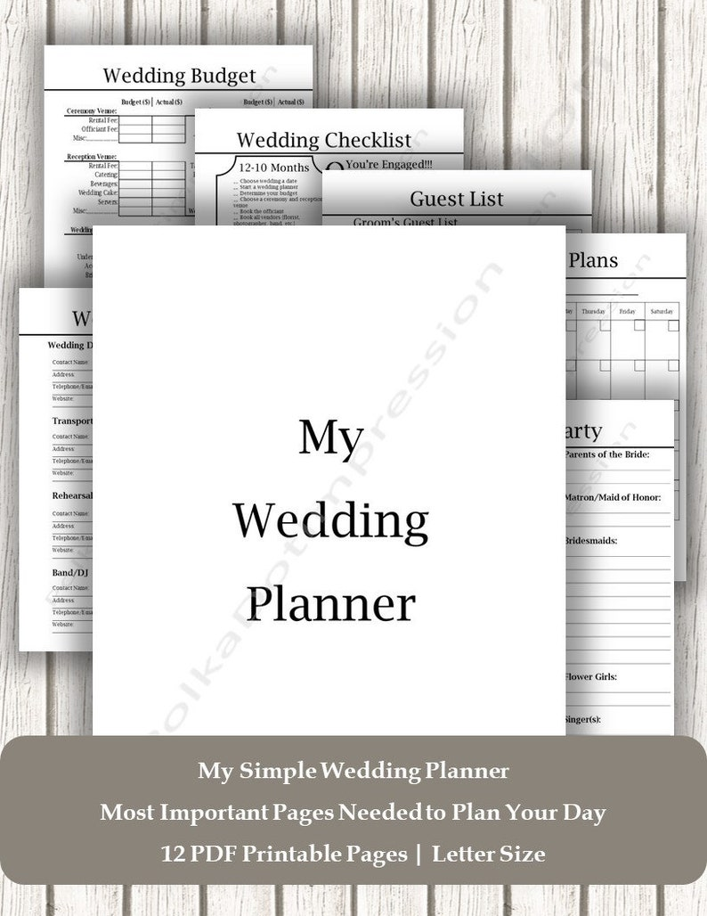 photograph about Printable Wedding Planner Pdf titled Cool Uncomplicated Wedding day Planner, Printable Wedding ceremony Planner PDF, Comprehensive Marriage List, Marriage Coordinator List, Marriage ceremony Working day Planner