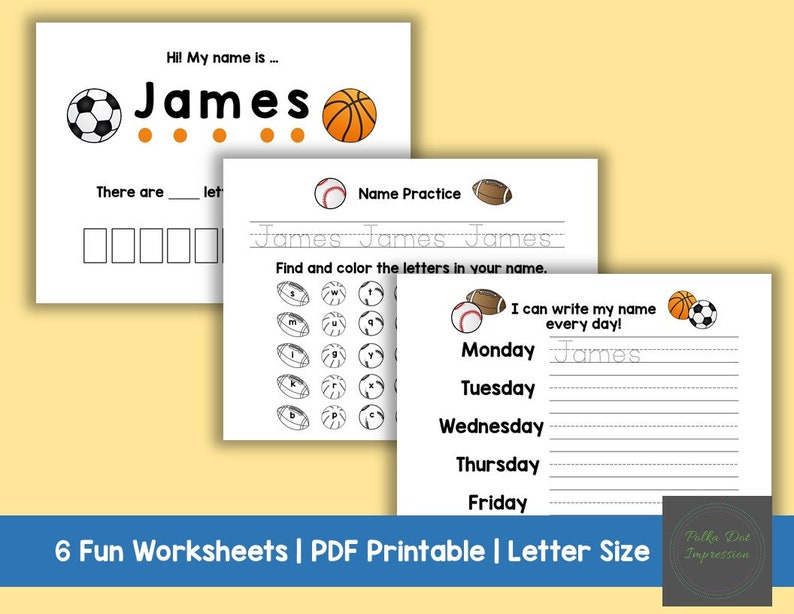 My Personalized Name Writing Worksheets Daily Practice Name | Etsy