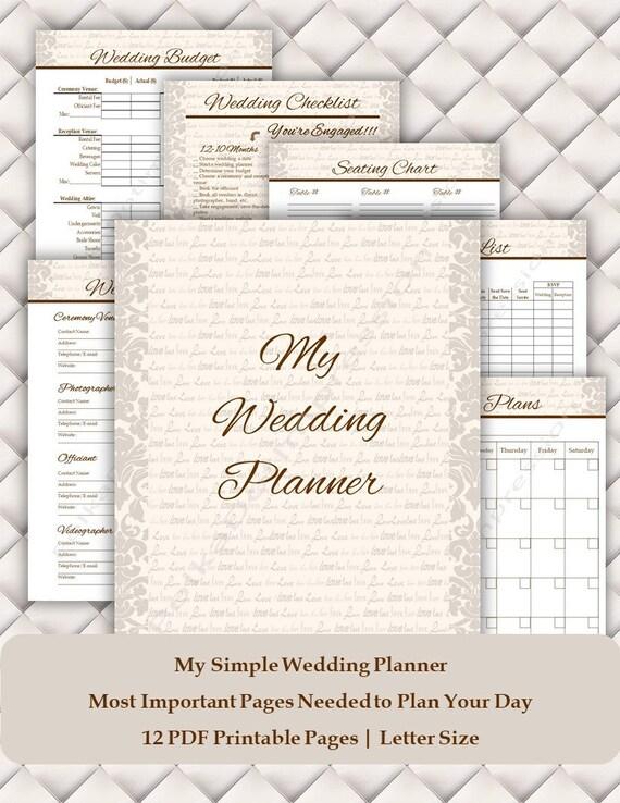 Ivory Love Simple Wedding Planner Bridal Diary Wedding Etsy