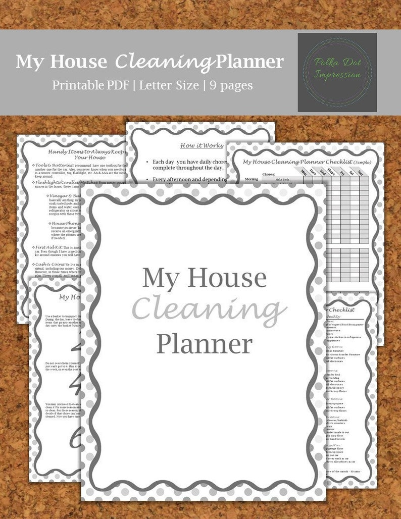 My Gray House Cleaning Planner, Cleaning Tips & Tricks, Chore List DIY,  Easy to do Chores, Helpful Tips to Clean A House, Downloadable PDF