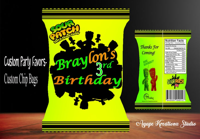 Sour Patch Kids inspired Custom Favor Bags- Sour Patch Kids Custom Chip  Bags- Birthday Party-Digital Download