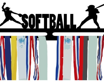 W25 Softball Medal  Ribbon Holder with A Pitcher Batter and Fielder and Custom Text Box