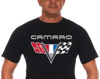 5af609e23 JH Design Group Men's Chevy Camaro Black T-Shirt Classic V-Flag Emblem