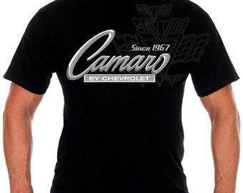 d791fdee JH Design Men's Chevy Camaro Collage T-Shirt Short Sleeve Crew Neck Shirt