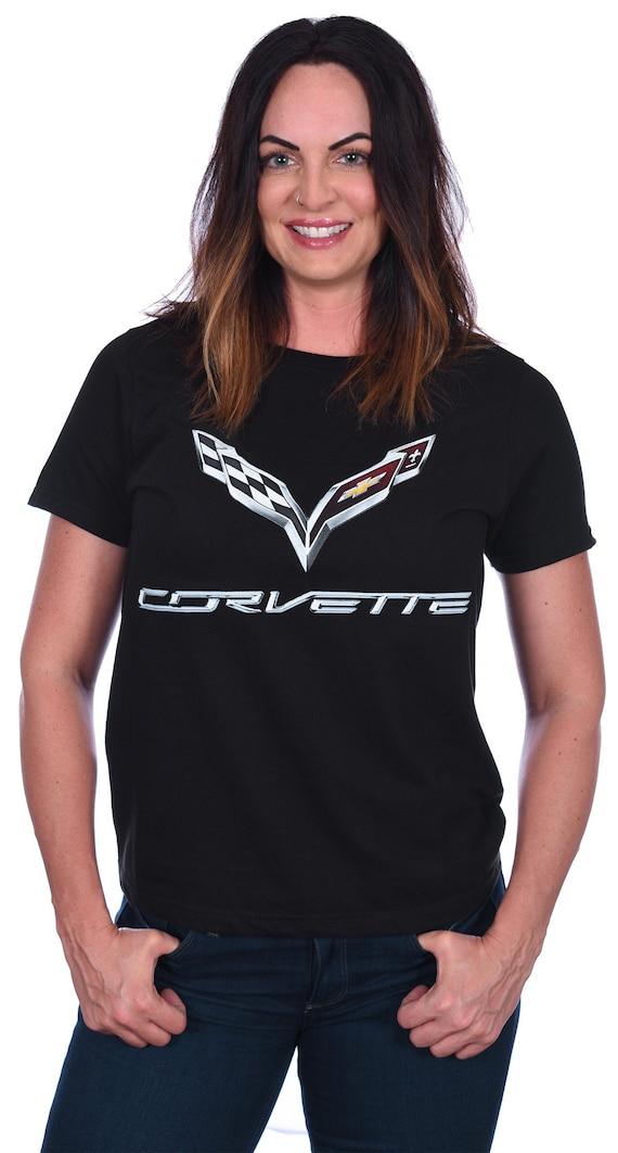 JH DESIGN GROUP Mens Chevy Corvette T-Shirt C6 Series Logo Black Crew Neck Shirt