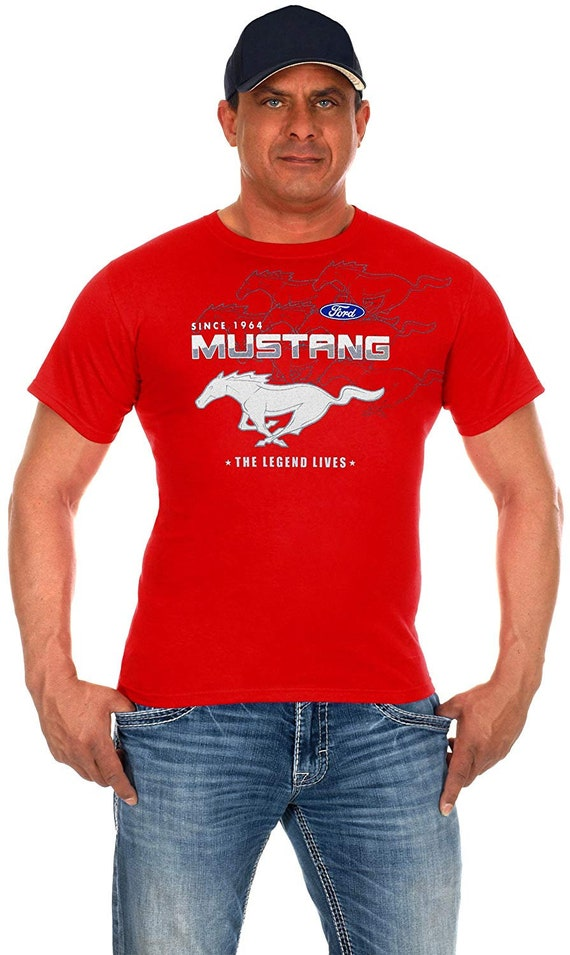 JH DESIGN GROUP Mens Ford Mustang Distressed Stars /& Bars Crew Neck T-Shirt