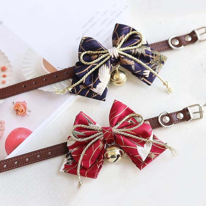 Designer Fancy Pattern Handmade Dog Cat Pet Bow Tie Collar blue