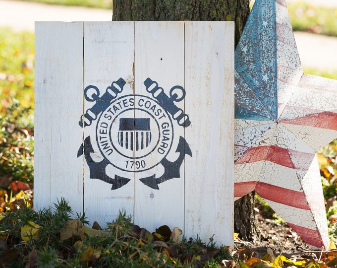 United States Coast Guard pallet sign