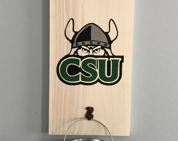 Cleveland State University Bottle Opener with cap catcher