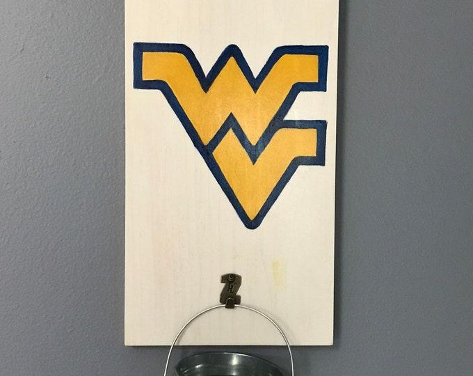 West Virginia University Bottle Opener with cap catcher