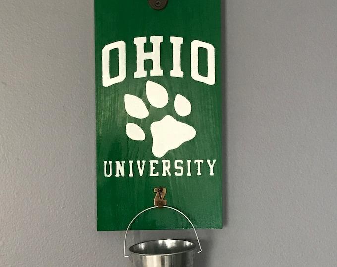 Ohio University Paw Print Bottle Opener with Cap Catcher