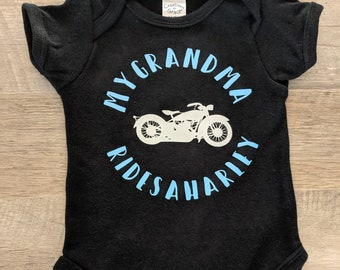e316a26e9 My Grandma Rides a Harley Onesie- My Family Member Rides a Harley Onesie-  Grandpa- Mom- Dad- Aunt- Uncle- Harley Davidson Onesie- Motorcycle