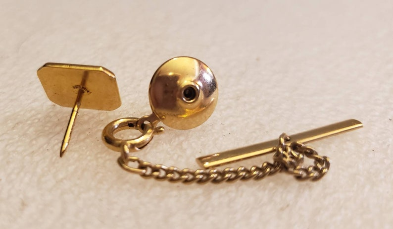 Monogrammed two tone square tie tack with chain