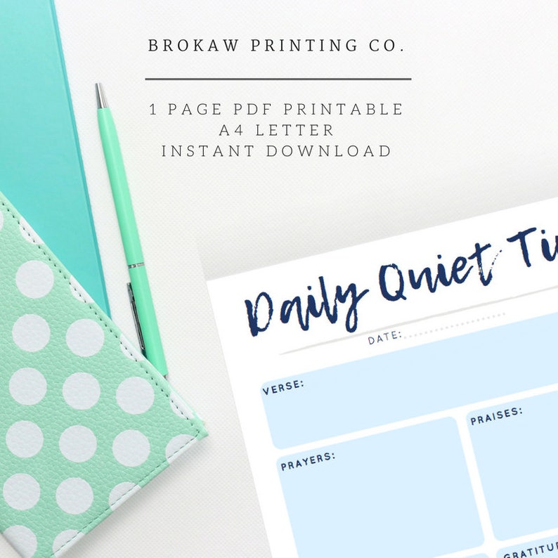 Daily Devotional Template Guide, Quiet Time Printable, Christian Digital  Download