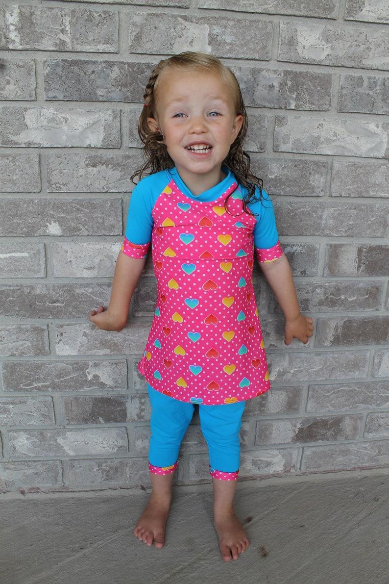 80cd396eaf4a9f Girls Modest Swimwear / Girls swim dress with Capri leggings / | Etsy