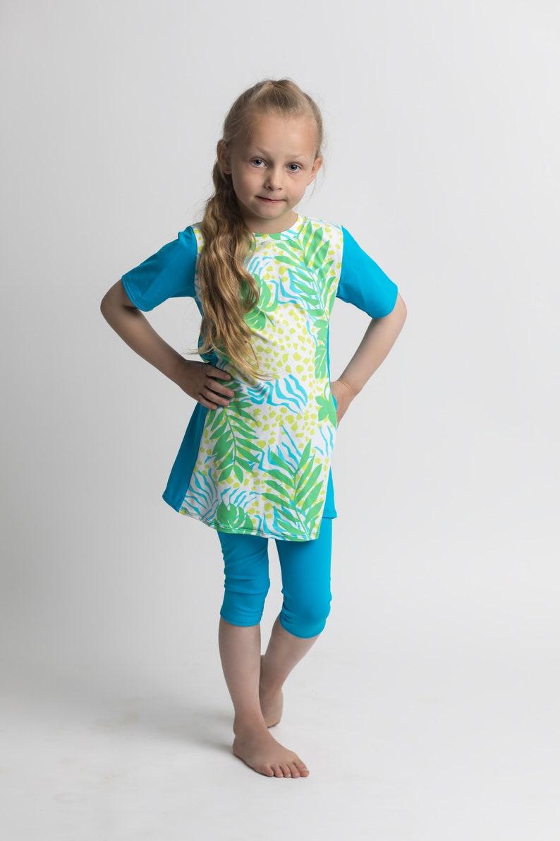 1052fe634eecf Modest swimwear for girls / Swim dress with Capri leggings / | Etsy