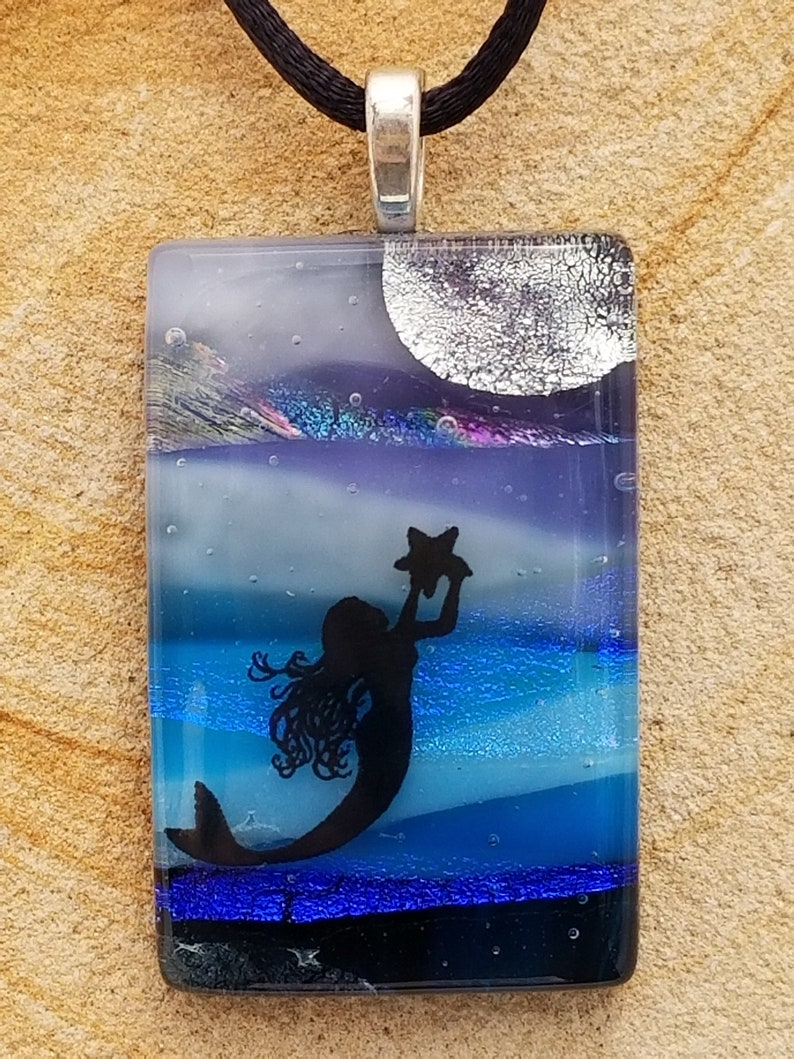 Tropical Mermaid and Moon Scenic Dichroic Pendant Underwater Scenic Necklace Landscape Scene Pendant Fused Glass Jewelry