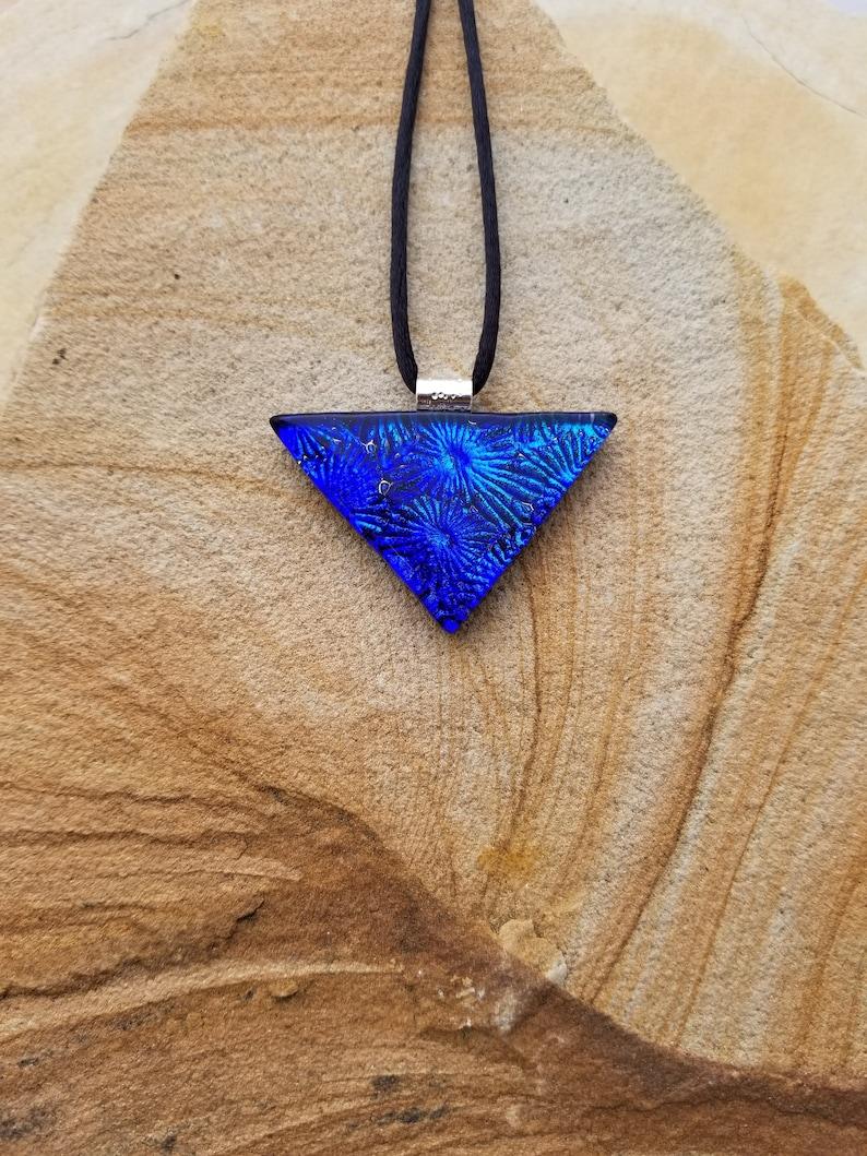 Fused Glass Pendant Vivid Blue Textured Dichroic Glass Pendant and Necklace Dichroic Jewelry