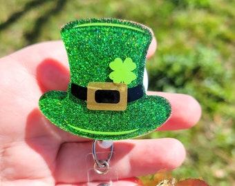 Office Staff St Patricks Day Medical Staff ID badge reel Teacher FREE SHIPPING Nurse Leprechaun Hat badge reel cute badge reel