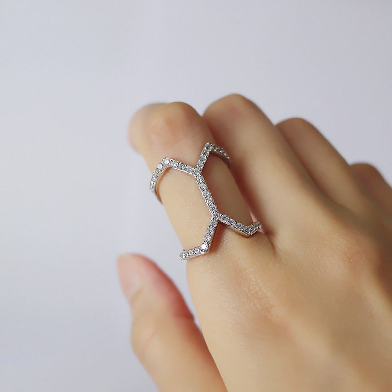 Sterling silver CZ double layered ring US 6 Geometric Y shape finger wrap ring luxurious gift fine jewelry Sparkling cubic zirconia band