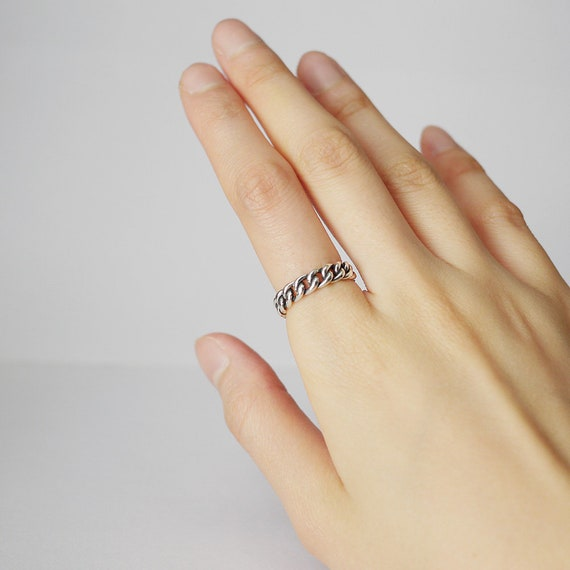 Open Ring 925 Sterling Silver Ring Vintage Ring. Adjustable Ring Twist Star Ring