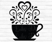 Coffee Cup, Tea Cup - Instant Digital Download, svg, ai, dxf, eps, png, studio3, and jpg files included