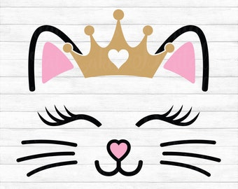 Cat Face with Crown - Instant Digital Download, svg, ai, dxf, eps, png, studio3, and jpg files included! Kitten, Whiskers, Lashes, Baby Girl