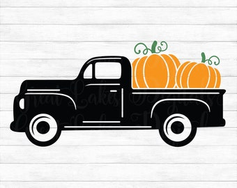 Fall Pumpkin Truck - Instant Digital Download, svg, ai, dxf, eps, png, studio3, and jpg files! Autumn Vintage Truck, Thanksgiving, Halloween