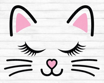 Cat Face - Instant Digital Download, svg, ai, dxf, eps, png, studio3, and jpg files included! Kitten Face, Whiskers, Lashes