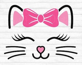 Cat Face with Bow - Instant Digital Download, svg, ai, dxf, eps, png, studio3, and jpg files included! Kitten, Whiskers, Lashes, Baby Girl