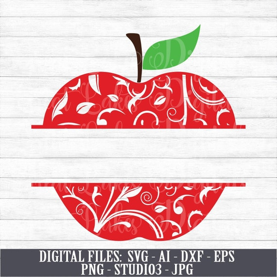Apple Monogram Back To School Split Monogram Instant Etsy