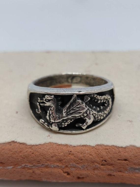 Men's Wyvern Dragon Silver Biker Ring