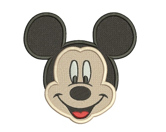Mickey Mouse Happy Face Filled Embroidery Design