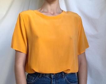 2cbffabb75670b 90s minimal orange silk top   silk tee shirt   orange shirt   orange blouse    vintage orange silk   spring top   summer top   medium - large