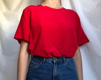 6a32bdd5 90s minimal red silk top / red silk blouse / vintage silk / red top / red  tee / silk tee / vintage silk tee / minimal vintage / large - xl
